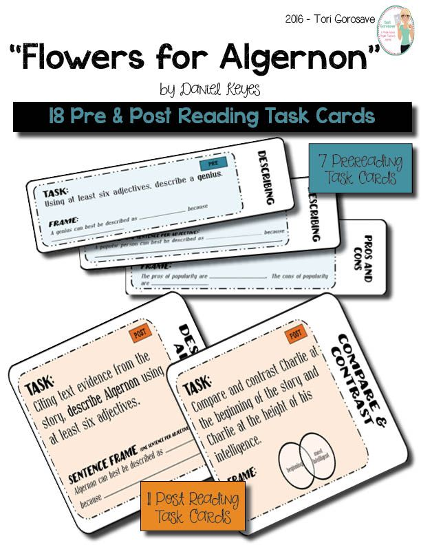 task cards flowers for algernon language students and 27 pre and post reading task cards for daniel keye s flowers for algernon use these 27 task cards to analyze daniel keye s intriguing short story