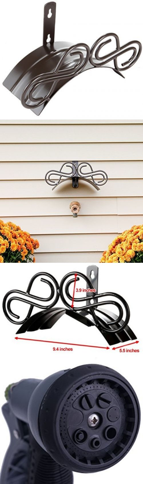 Hose Reels And Storage 46435: Decorative Garden Hose Hanger. Wall Mount  Holder Including Spray
