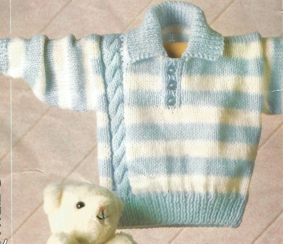 Knitting Pattern Babies ,Toddlers /Childrens Striped Jumper/Sweater/Pull...