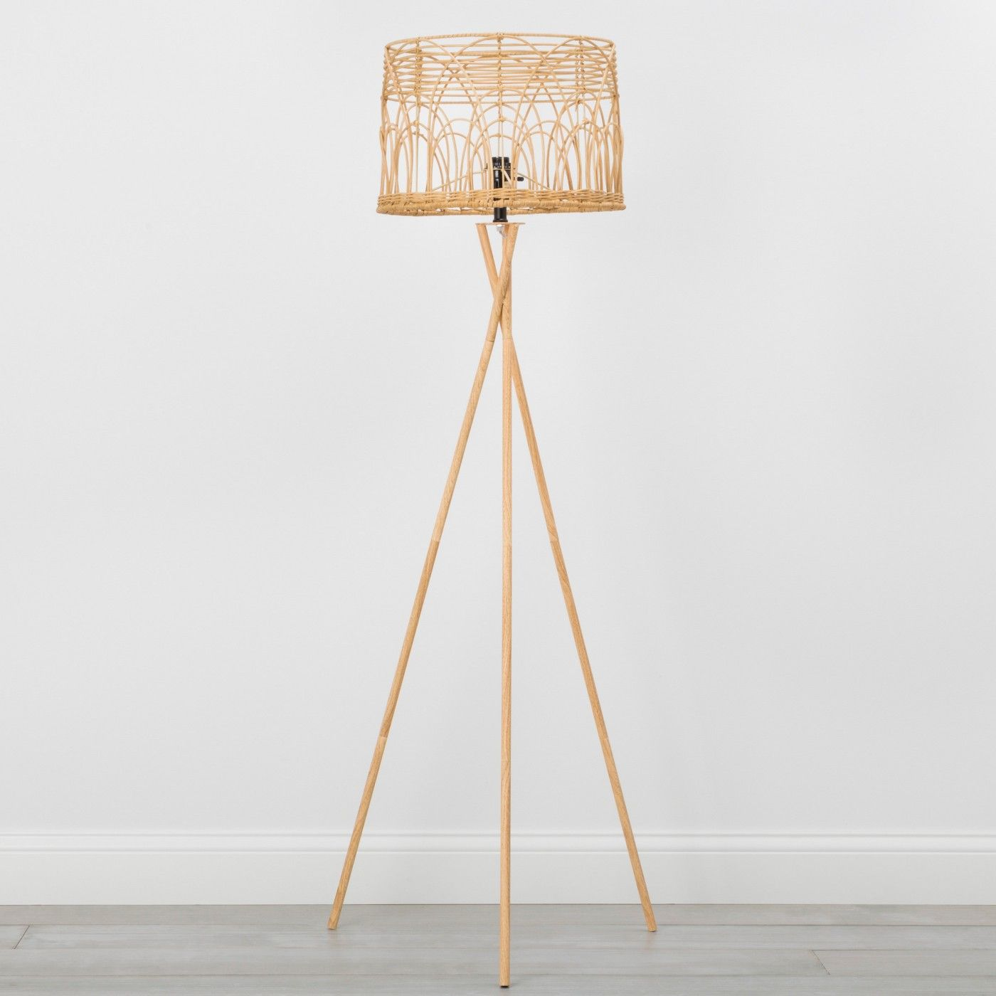 Rattan Tripod Floor Lamp Natural Opalhouse Image 1 Of 4