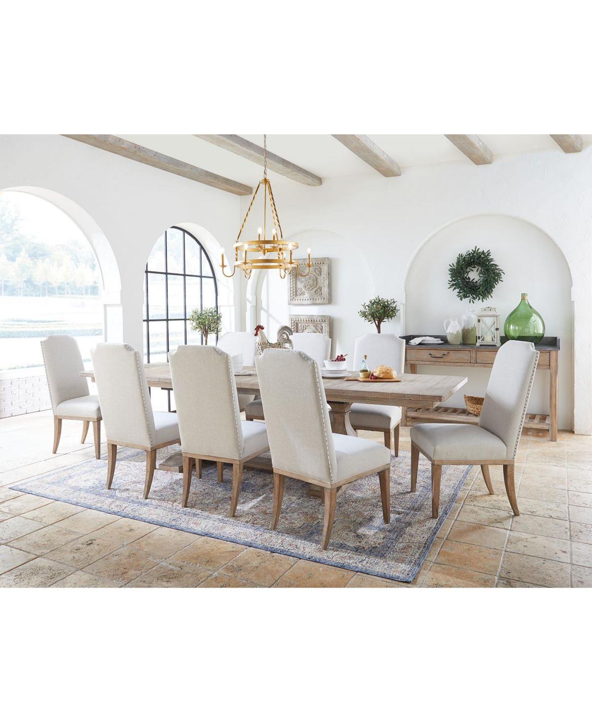 Rachael Ray Monteverdi Dining Furniture 7 Pc Set Table 4 Upholstered Side Chairs 2 Upholstered Arm Chairs Furniture Dining Furniture Side Chairs