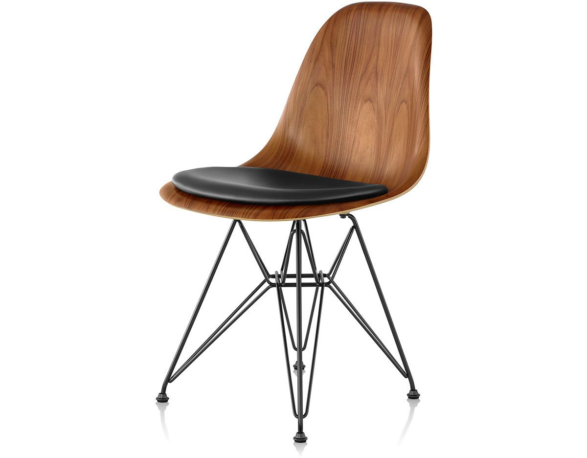 Wire Base Wood Side Chair With Seat Pad, Eames Side Chair Seat Pad