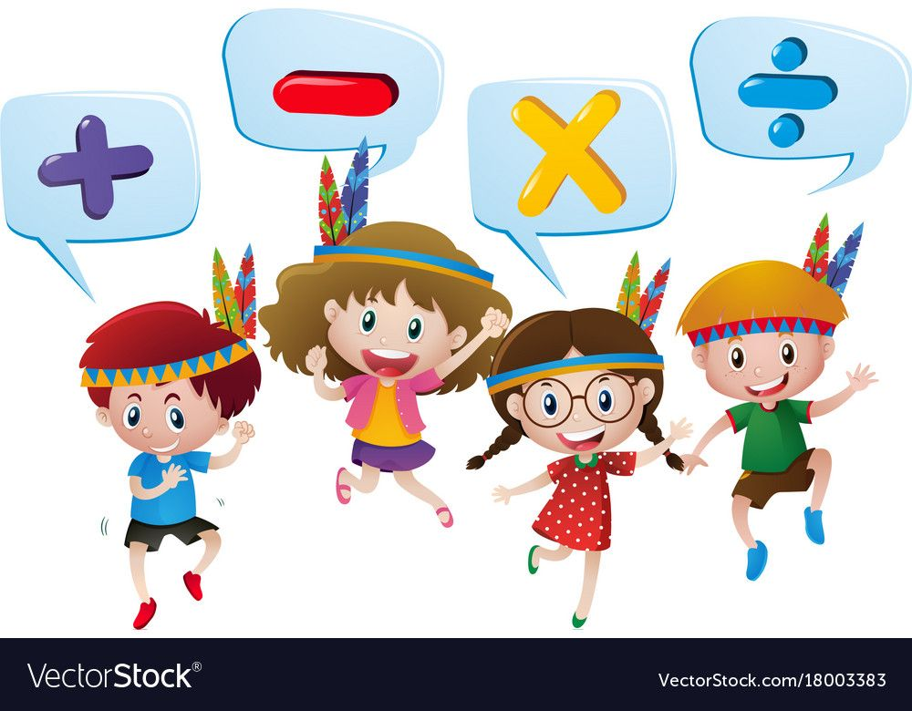 Kids And Different Math Signs Vector Image On Vectorstock Math