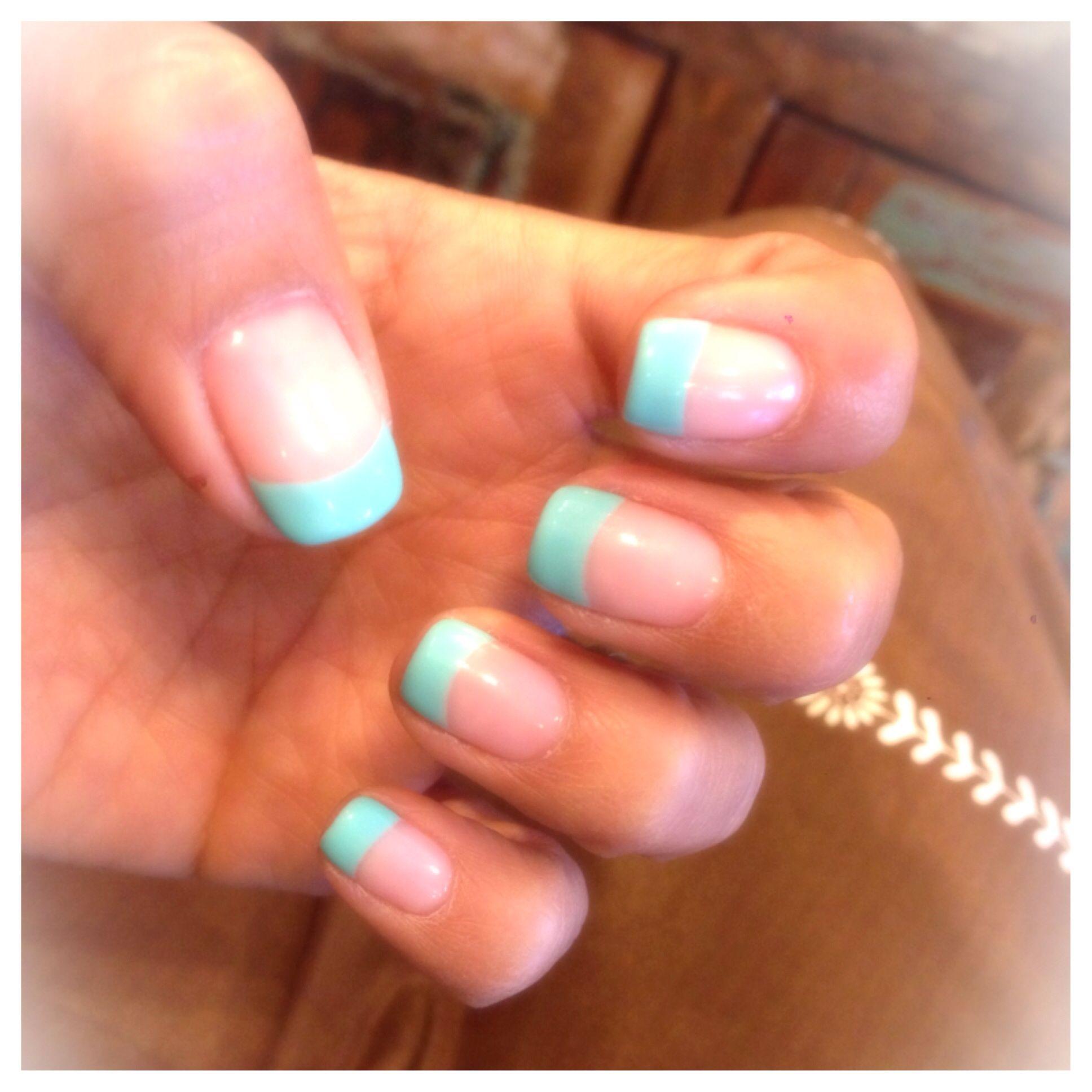 sea foam green tips gel nails