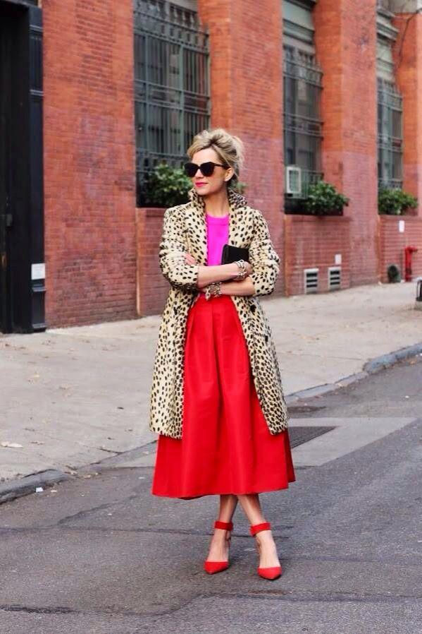 918020dddbd Girl wearing a Long red skirt & pink top with cheetah print coat ...