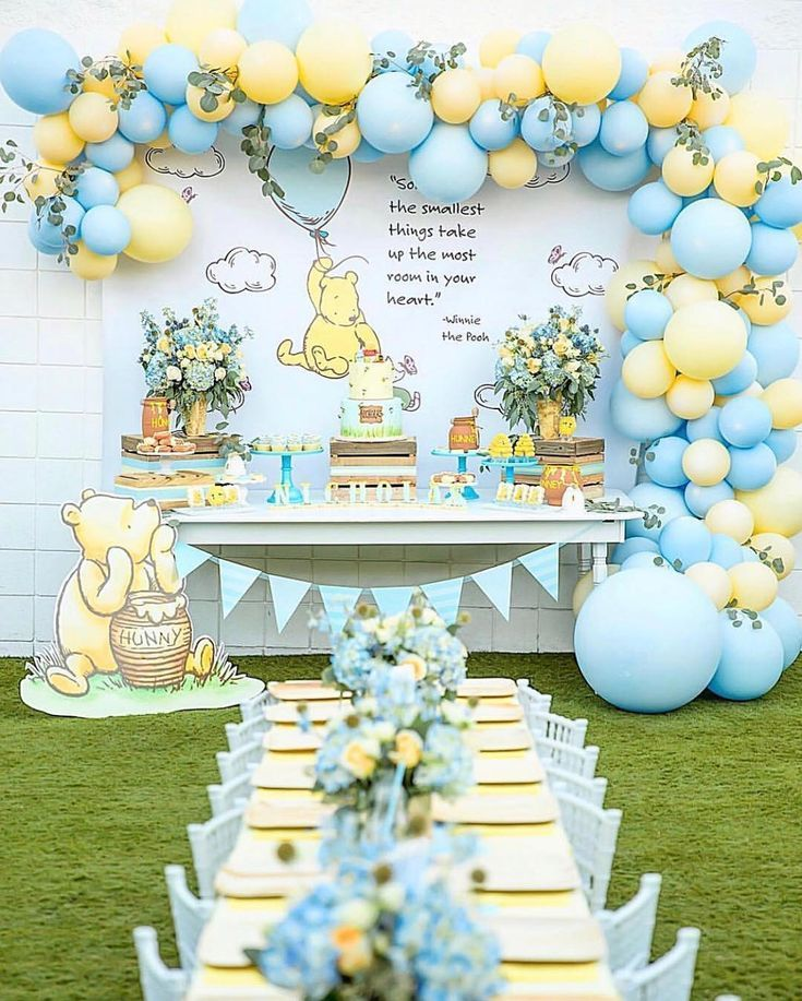 For The Of Parties On Instagram The Sweetest Winnie The Pooh Party Follow Our Pinter Surprise Baby Shower Disney Baby Shower Baby Bear Baby Shower