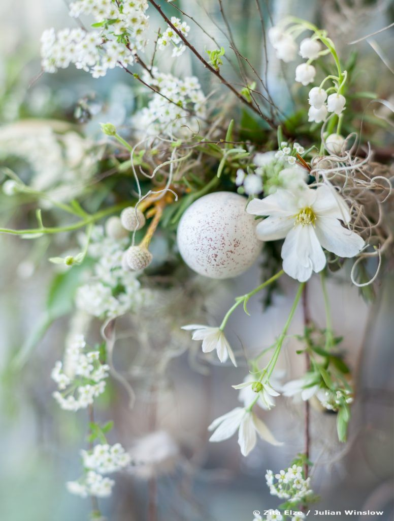 Zita Elze Easter Flowers - floral chandelier with eggshells and white flowers -Photo: Julian Winslow LP-26_wm