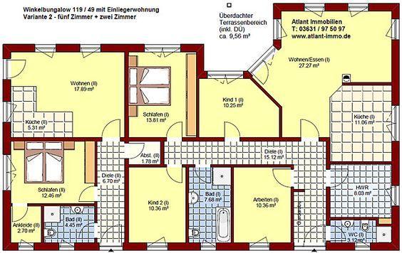 Winkelbungalow 119 49 mit Einliegerwohnung Einfamilienhaus