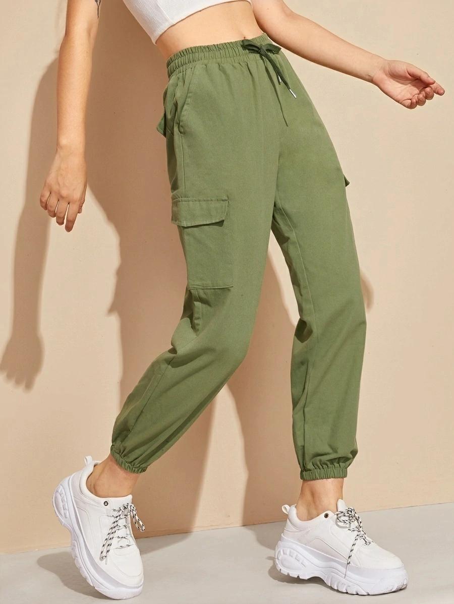 Pantalones Cargo De Cintura Con Cordon Con Bolsillos Laterales Con Solapa Shein Espana Ropa Para Ninas Fashion Pantalones De Moda Ropa Tumblr Mujer