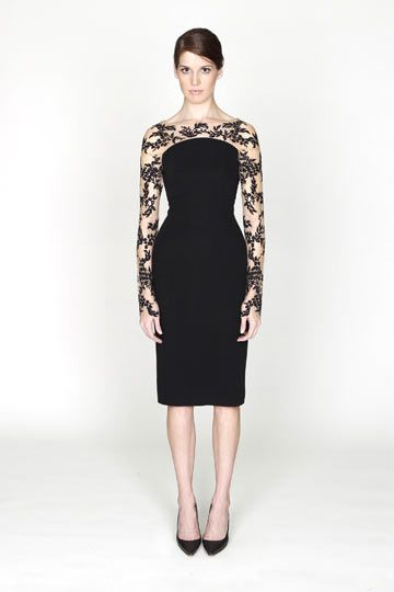 Little black dress by Monique Lhuillier the model should be smiling while wearing such a gorgeous dress!!!!