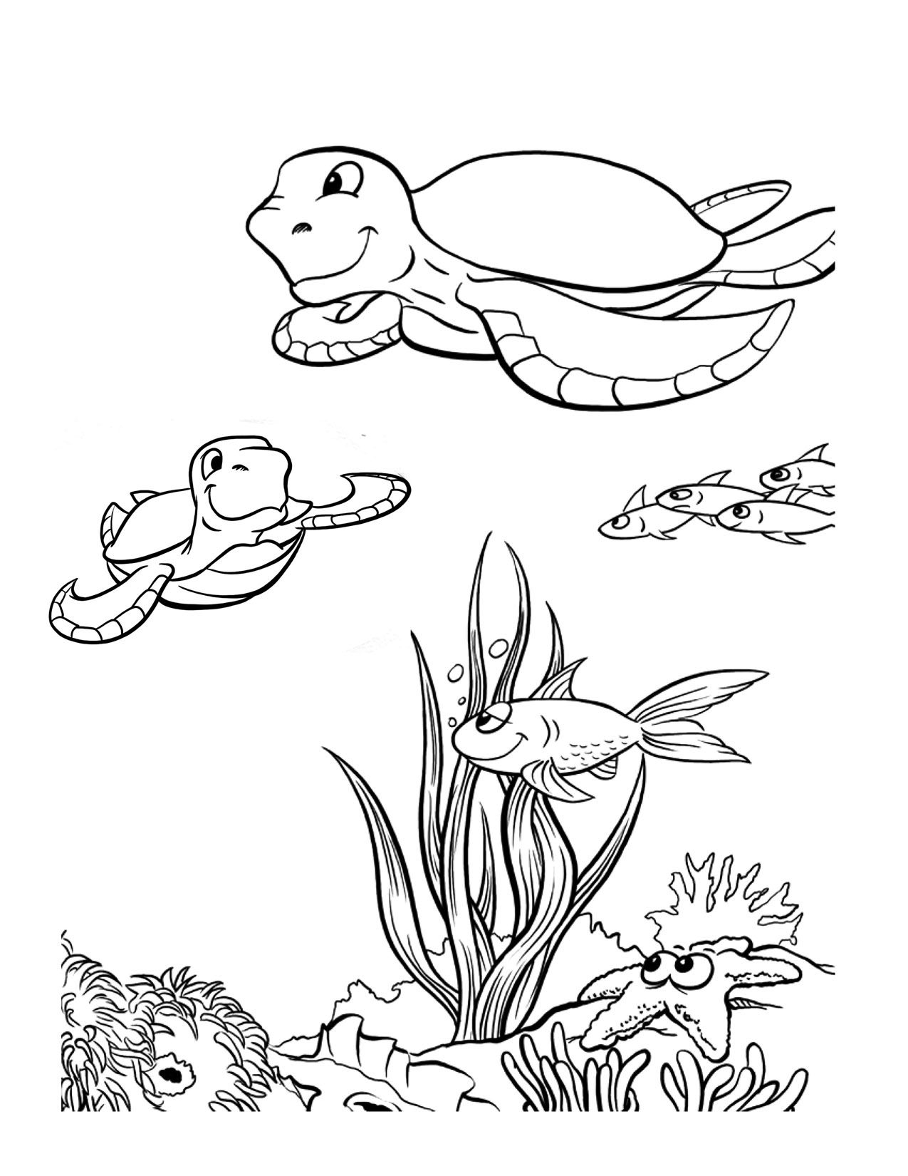 sea animals coloring pages printable best | Graphics & stencils ...