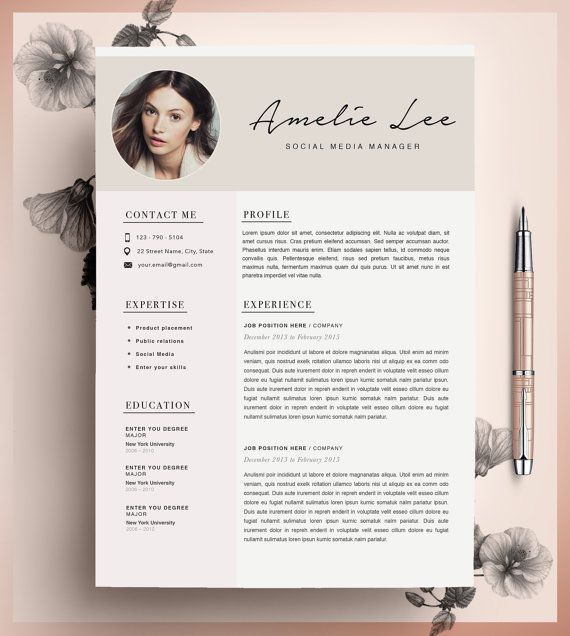 Creative Resume Template, Cv Template, Instant Download, Editable
