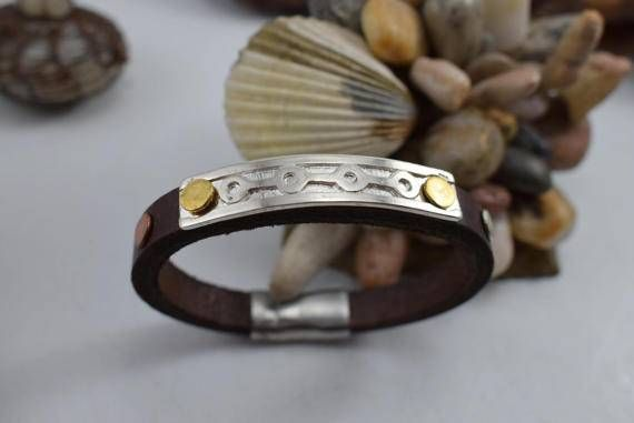 Contemporary Leather Silver Bracelet Men by DeniceArtMetalsmith