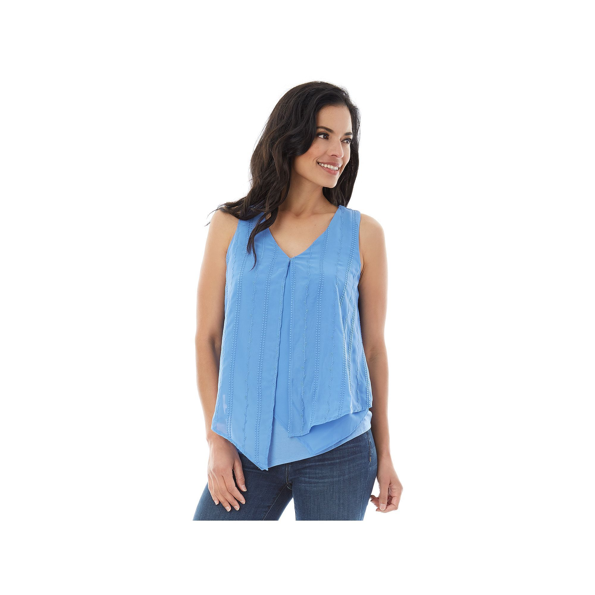 Women's' AB Studio Embroidered Layered Top, Size: Xlrg Av/Rg, Med Blue