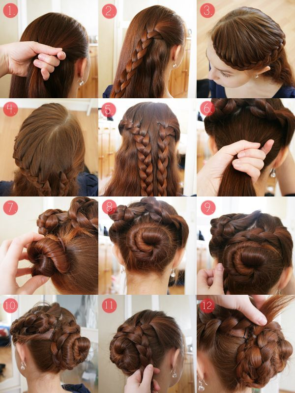 Braided Updo Tutorial For Long And Thick Hair Edited Version Might Work In Long And Thin Hair Like Long Hair Styles Thick Hair Styles Braided Hairstyles Updo
