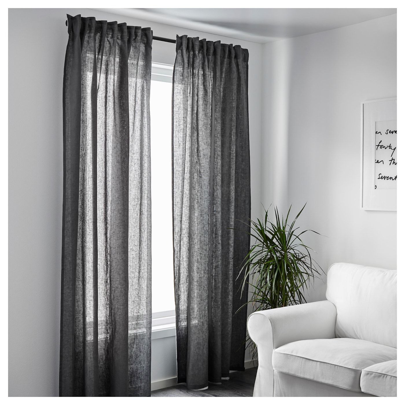 Ikea Aina Curtains 1 Pair Dark Gray Grey Curtains Living Room Dark Grey Curtains Dark Curtains