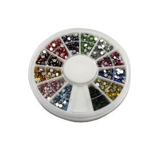 1200 Pcs Pearl 12 Color 2mm Nail Art Nailart Manicure Glitter Rhinestones Tips Decoration + Wheel