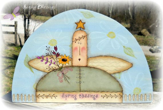 E PATTERN - Spring Blessings Angel - New for Spring - Designed by Rhonda Bowers & Painted By Me -