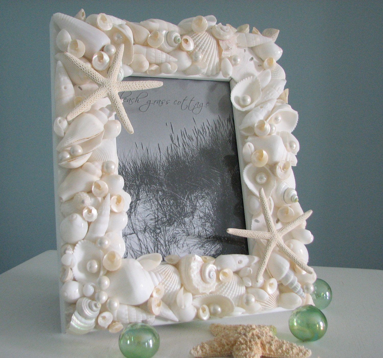 Decorative seashell craft ideas - Beach Decor Seashell Frame Shell Frame W All White Starfish Pearls 5x7
