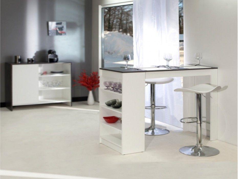 Mueble de bar 4 cubiertos y espacio almacenaje blanco JANIS