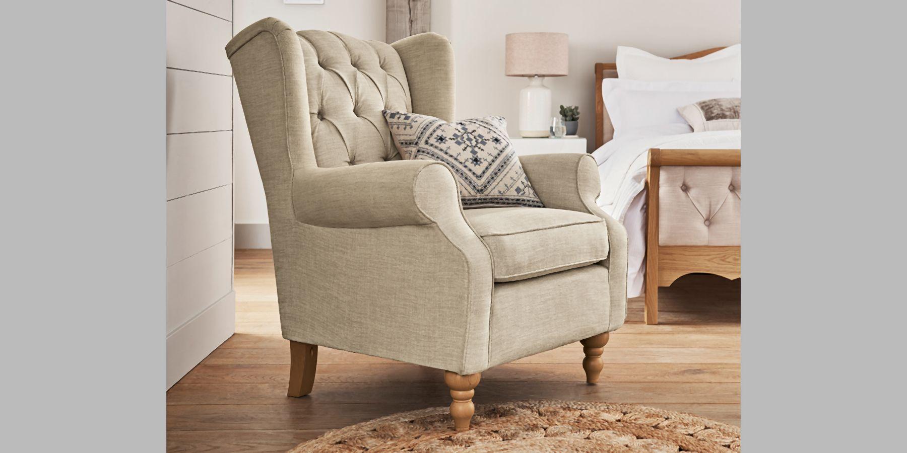 Next Sherlock Buttoned Chair Elegant Velour Light Stone High