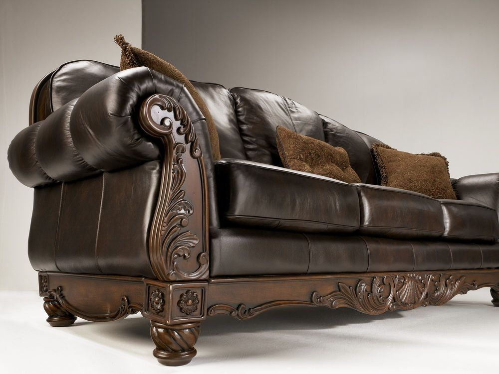 NORTH SHORE   ALL LEATHER BROWN TRADITIONAL SOFA SET OLD WORLD COUCH LIVING  ROOM