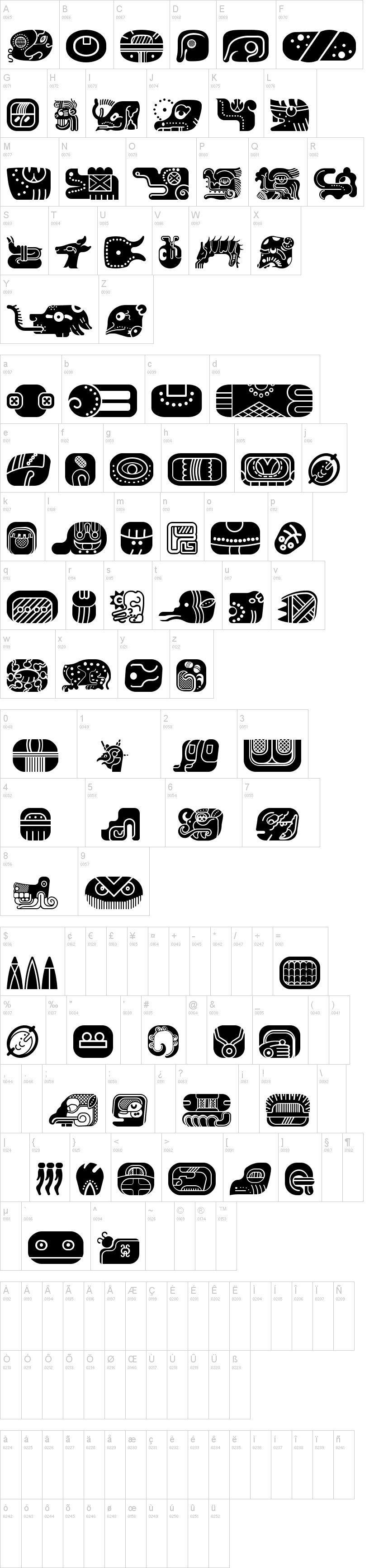 Mayan Glyphs Font Dafont Com Insignias Mayan Symbols Mayan