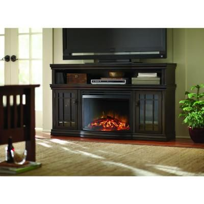 Home Decorators Collection Silverthorne 57 in. Media Console Electric  Fireplace in Espresso-MTVSC2513SE- - Home Decorators Collection Silverthorne 57 In. Media Console