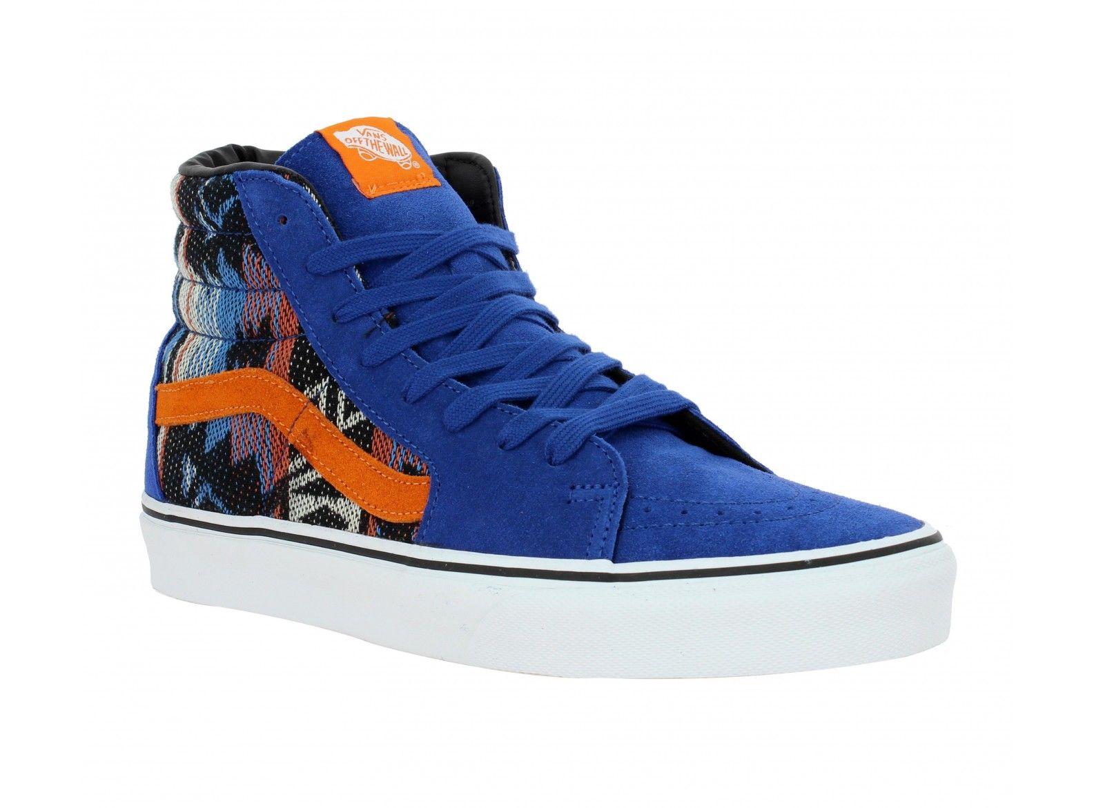 02a8746d008 VANS SK8 Hi velours + toile Homme Bleu + Inca