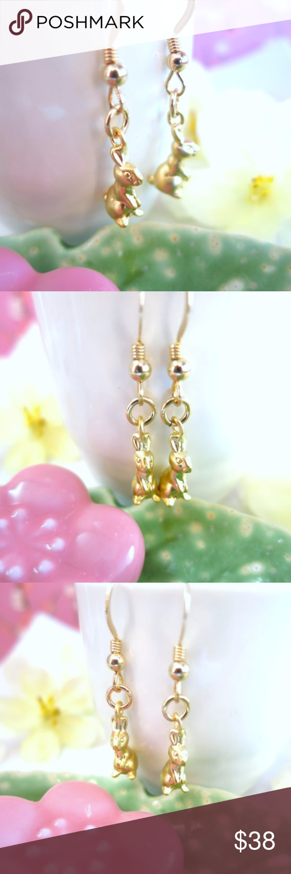 Gold rabbit dangle easter earrings boutique matte gold pastel