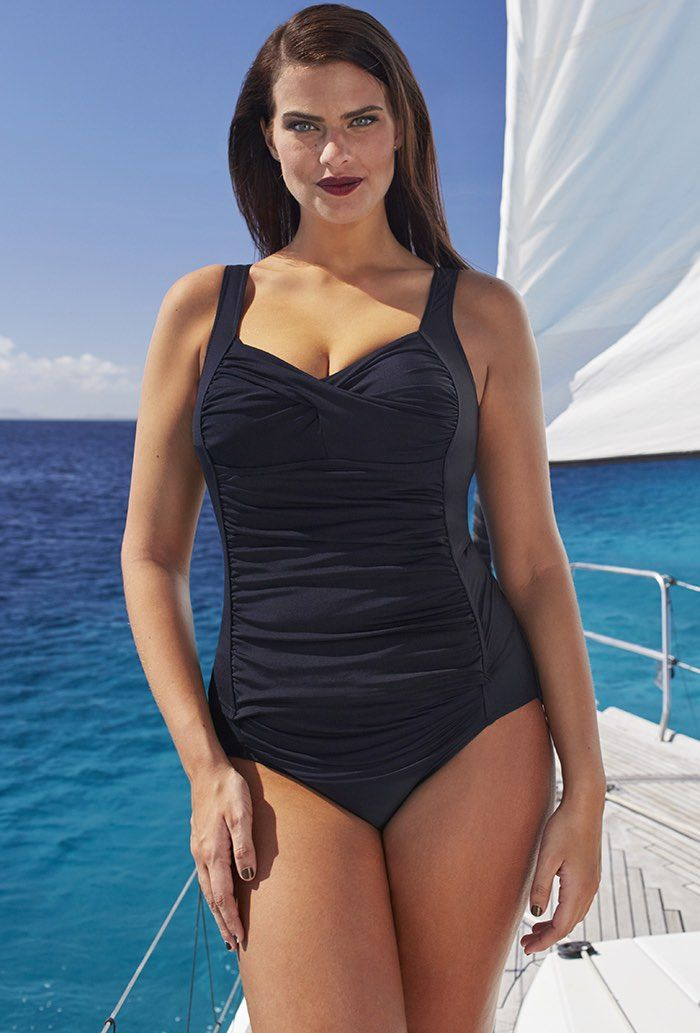 Tropiculture Black Twist-Front Ruched Plus Size Tankini