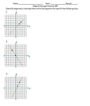 Slope Intercept Practice #2 CC 7.EE.4 | school | Worksheets, Math