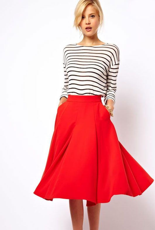 Red with stripes. Circle skirts, all the time.