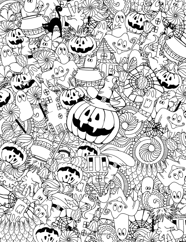 Adult coloring book happy halloween for relaxation and for Coloring pages halloween adult