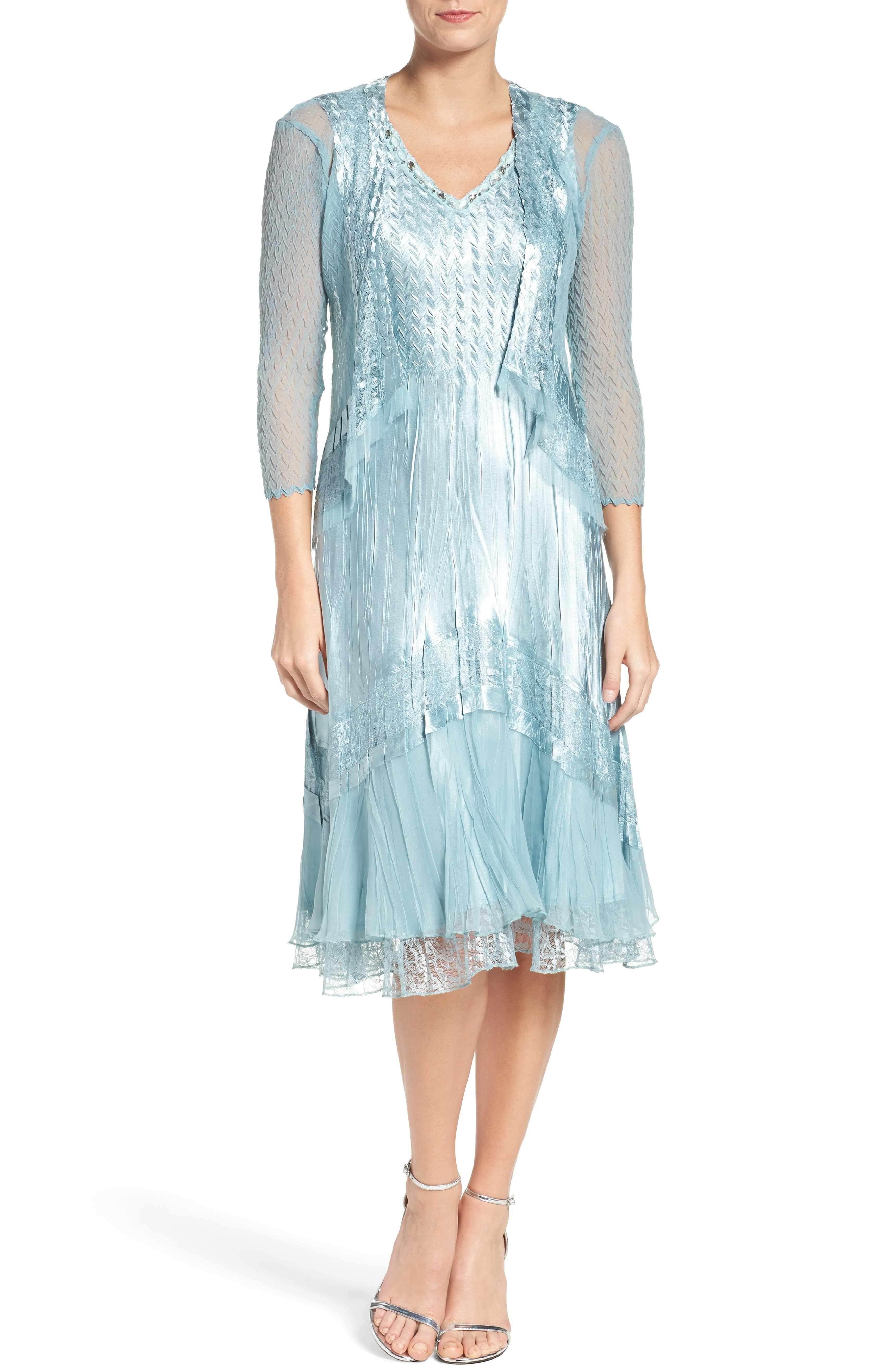Main Image - Komarov Textured Satin Dress & Jacket (Regular & Petite ...