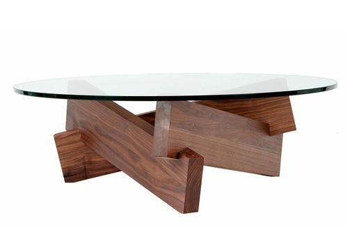 Glass Contemporary Coffee Table Wood Base Camp Air Division Pte