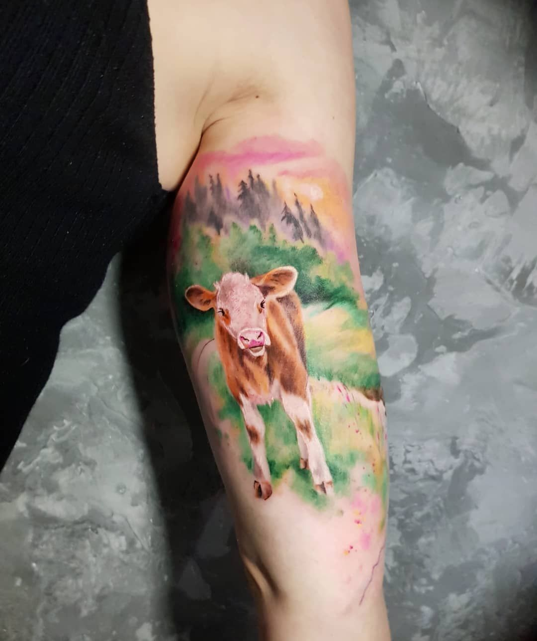 Simona Blanar Watercolor Cow Tattoo Tattoos Tattoos Cow Tattoo