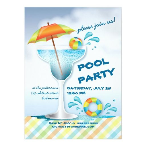 Adult Pool Party Summer Cocktail Invitation  Summer Party