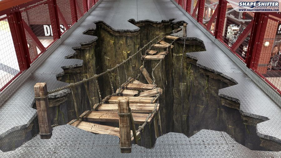 Floor graphics 3d floor hole pit hanging bridge streetart for Catwalk flooring