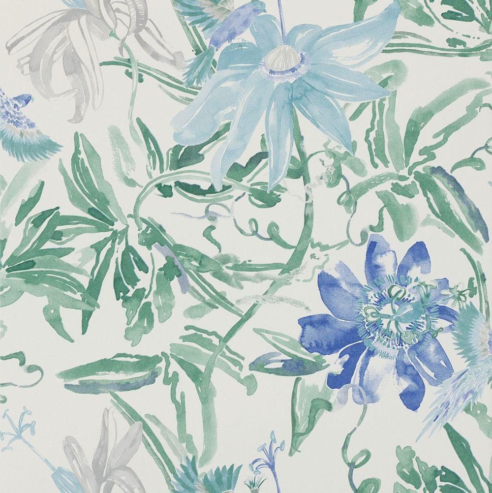 Flowers Blue Wallpaper By Paper Moon