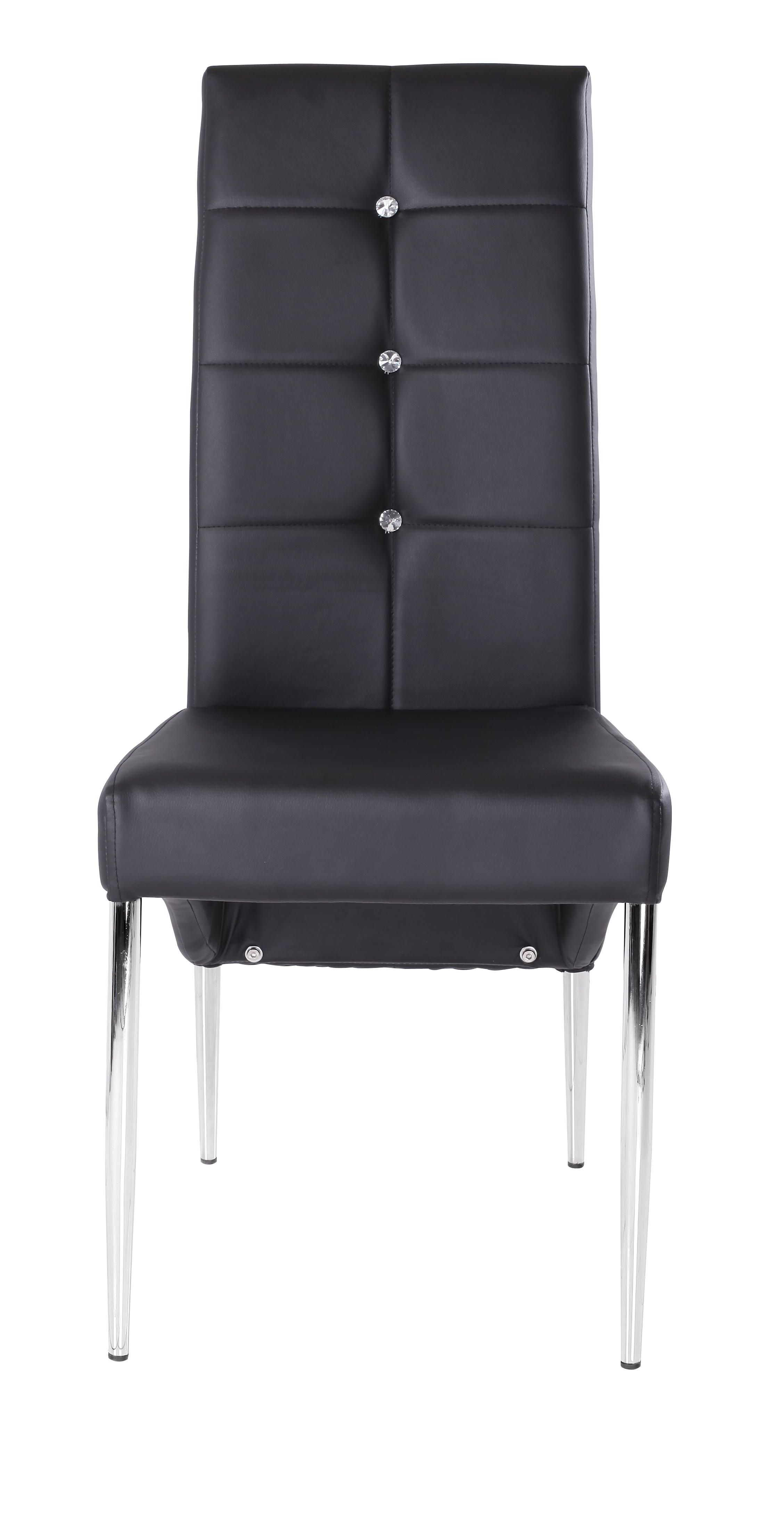 black leather high back dining chairs on side 4262 black bling your dining room side chair in black pu with rhinestone pic 1 dark wood dining table wood dining table dining room design pinterest