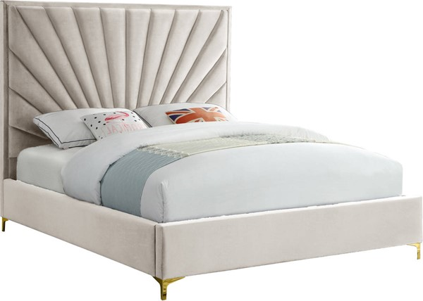 Meridian Furniture Eclipse Cream Velvet King Bed Meridian Furniture Velvet Upholstered Bed Bed