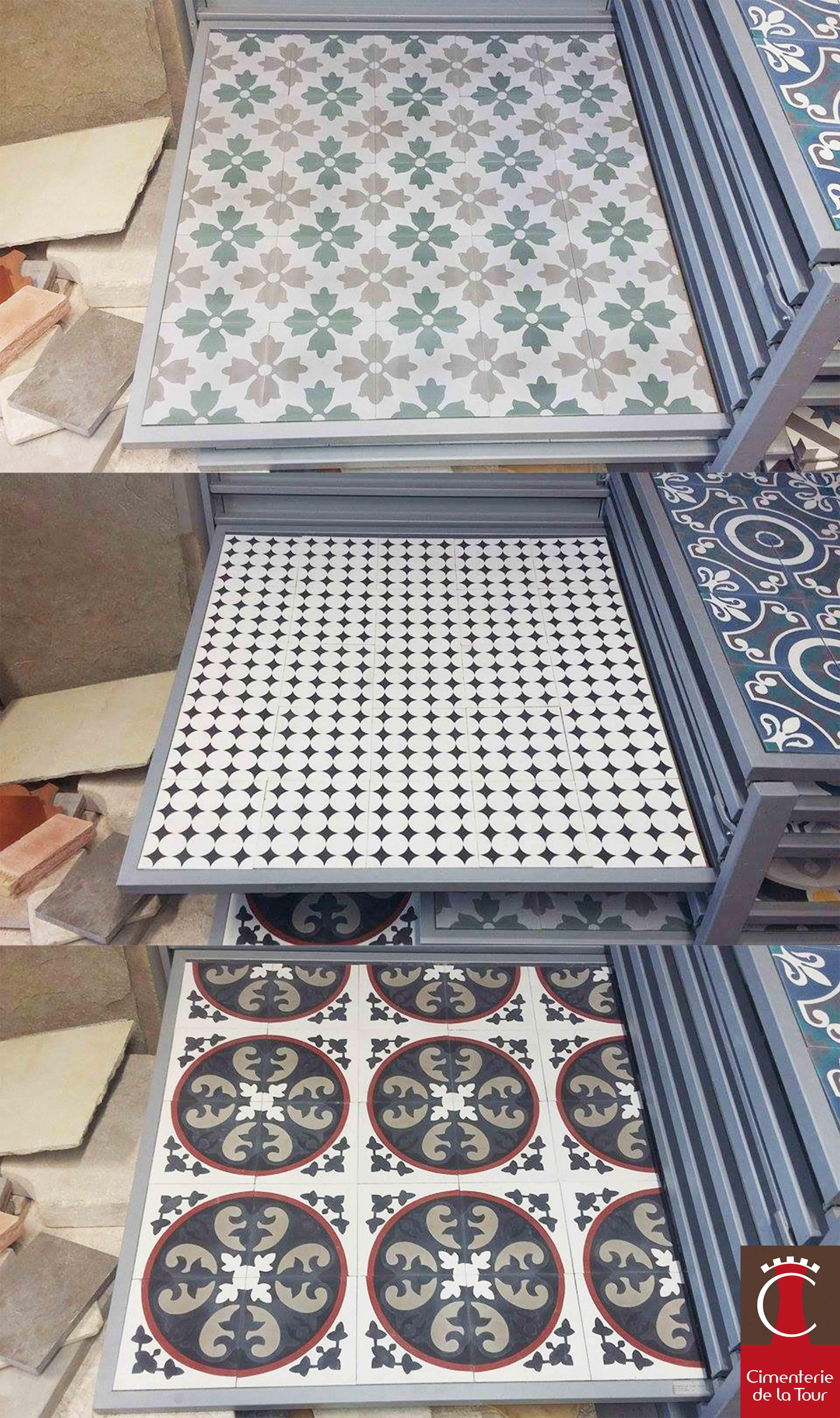 r f rences m1163 m1860 m1331 carreaux ciment show room. Black Bedroom Furniture Sets. Home Design Ideas