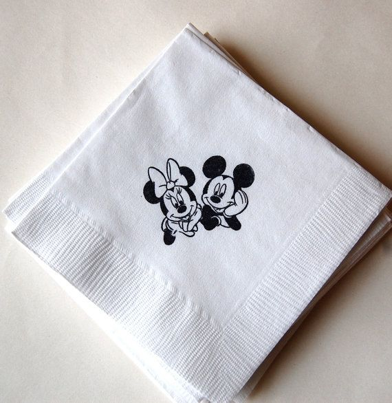 46b57602435 Mickey and Minnie Mouse Napkins   Set of 50   Cocktail Napkins ...