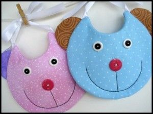 Download Kitty, Bear & Round Bibs Sewing Pattern | Baby | YouCanMakeThis.com