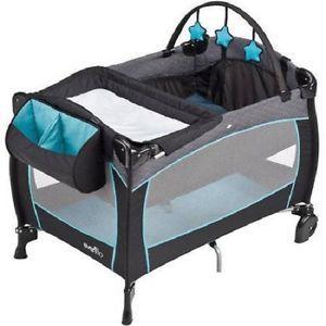 Blue Baby Nursery Center Rolling Playpen Infant Travel Playard Portable Crib Baby Playpen Portable Baby Cribs Evenflo