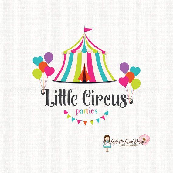 Circus tent logo party logo design children's boutique logo premade logo design…