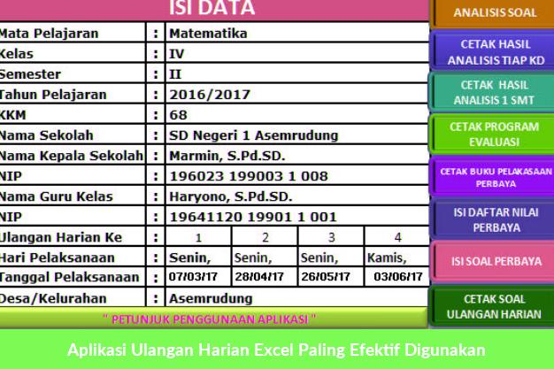 Aplikasi Ulangan Harian Excel Paling Efektif Digunakan Microsoft Excel Microsoft Word 2007 Microsoft