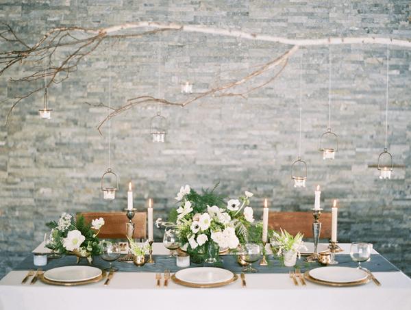 Beautiful slate blue-gray runner, candlesticks, white floral + ferns via @Jena McClendon McClendon Kittie Wed. Photography by: Leo Patrone #wedding #winterwedding