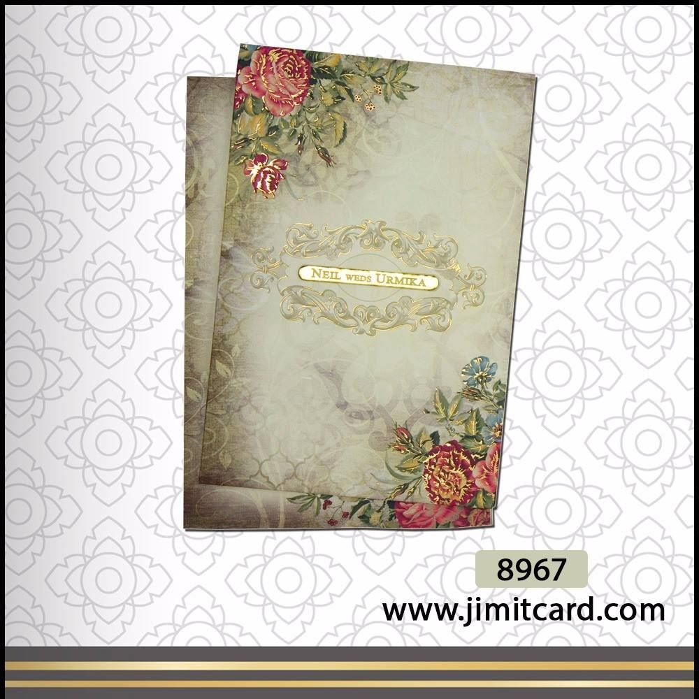 This Hindu Wedding Card Is Pictorially Rich With Floral Design With Leaves In Both The Corner And Wedding Card Design Marriage Cards Indian Wedding Invitations